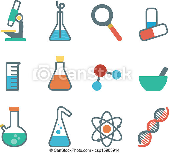Flat icon science. A set of plane icons with symbols of... vector ...