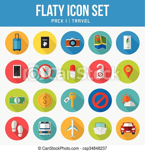 Flat Icon Set Pack Travel - csp34848237