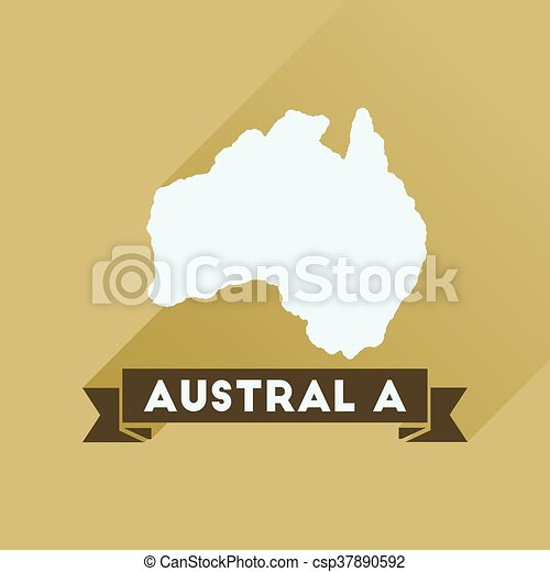 Flat icon with long shadow Australia map - csp37890592