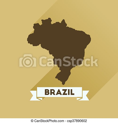 Flat icon with long shadow Brazil map - csp37890602