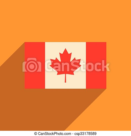 flat icon with long shadow flag of Canada - csp33178589