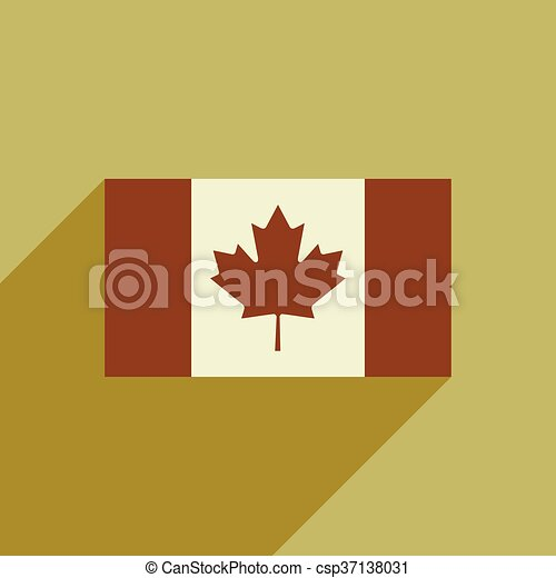 flat icon with long shadow flag of Canada - csp37138031