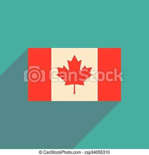 flat icon with long shadow flag of Canada - csp34055310