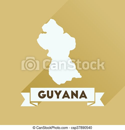 Flat icon with long shadow Guyana map - csp37890540