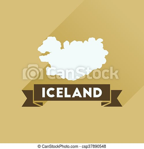 Flat icon with long shadow Iceland map - csp37890548