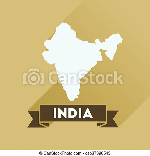 Flat icon with long shadow India map - csp37890543