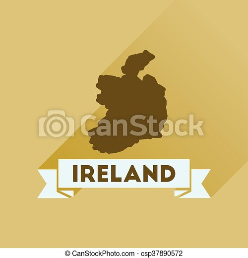 Flat icon with long shadow Ireland map - csp37890572