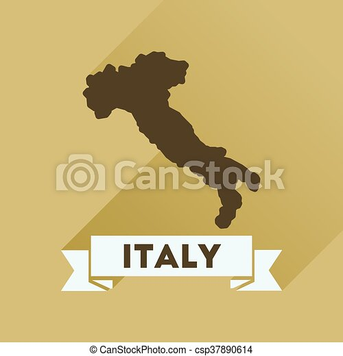 Flat icon with long shadow ITALY map - csp37890614