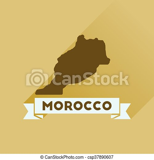 Flat icon with long shadow Morocco map - csp37890607