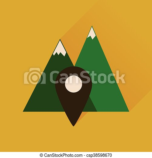 Flat icon with long shadow mountain location - csp38598670