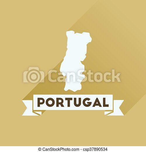 Flat icon with long shadow Portugal map - csp37890534