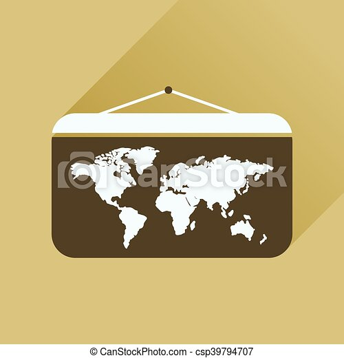 Flat icon with long shadow world map flat icon with long vector flat icon with long shadow world map csp39794707 gumiabroncs Images