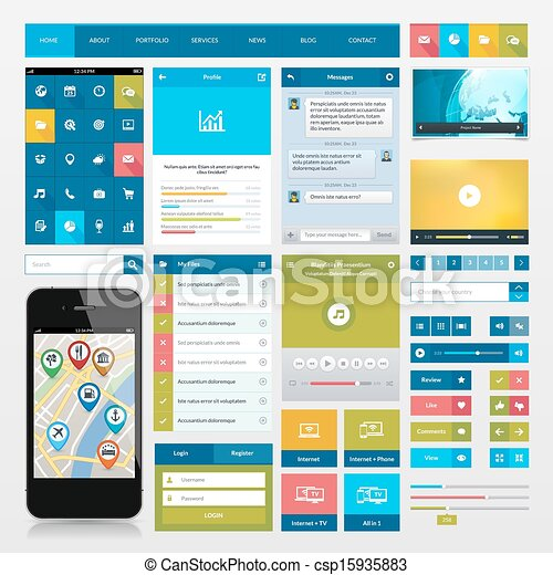 Flat icons and ui web elements - csp15935883
