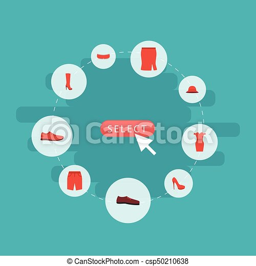 Flat Icons Boots, Elegant Headgear, Heeled Shoe And Other Vector Elements. Set Of Dress Flat Icons Symbols Also Includes Stiletto, Footwear, Skirt Objects. - csp50210638