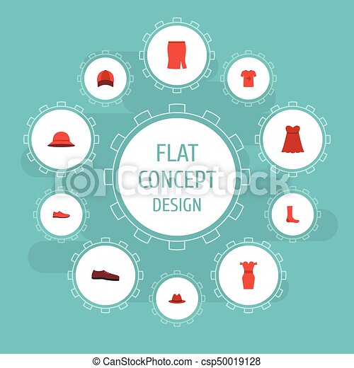 Flat Icons Casual, Elegant Headgear, Evening Dress And Other Vector Elements. Set Of Dress Flat Icons Symbols Also Includes Dress, Woman, Footwear Objects. - csp50019128