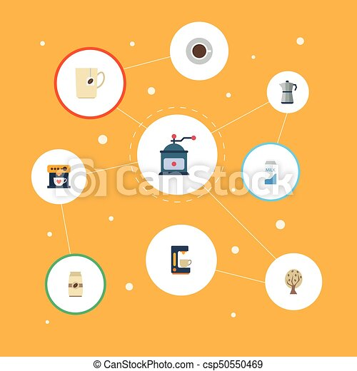 Flat Icons Coffeemaker, Paper Box, Saucer And Other Vector Elements. Set Of Beverage Flat Icons Symbols Also Includes Tree, Percolator, Milk Objects. - csp50550469