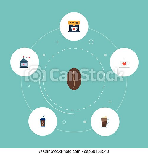 Flat Icons Cup, Latte, Arabica Bean And Other Vector Elements. Set Of Beverage Flat Icons Symbols Also Includes Grinder, Cocktail, Dispenser Objects. - csp50162540