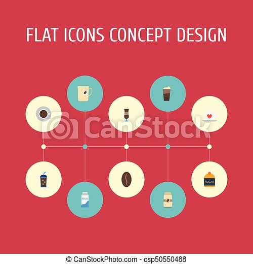 Flat Icons Cup, Mug, Arabica Bean And Other Vector Elements. Set Of Beverage Flat Icons Symbols Also Includes Capsule, Latte, Milk Objects. - csp50550488