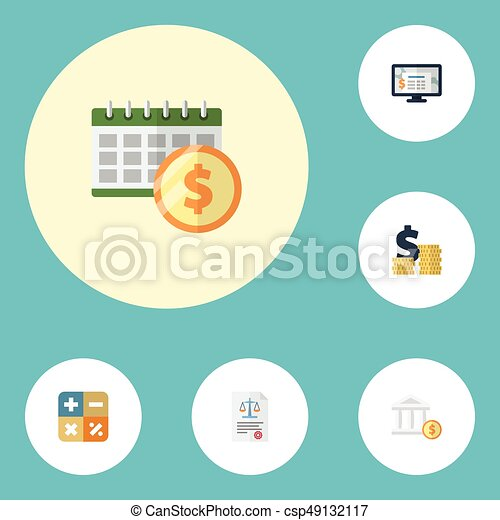 Flat Icons Deadline Accounting System Coins Pile And Other Vector Elements Set Of Recording