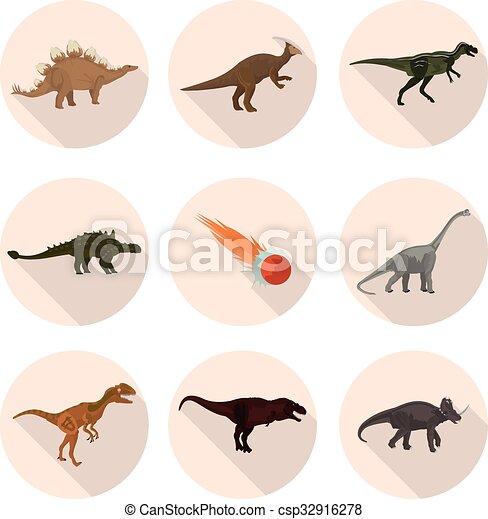 flat icons dinosaurs - csp32916278
