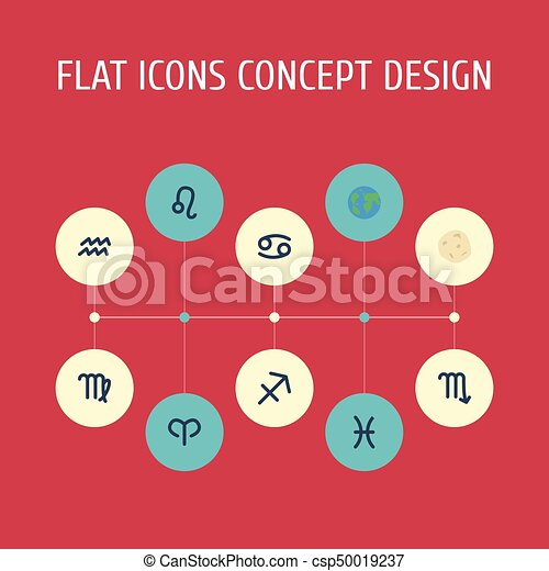 Flat Icons Fishes, Comet, Lion And Other Vector Elements. Set Of Astronomy Flat Icons Symbols Also Includes Aqurius, Scorpion, Fishes Objects. - csp50019237