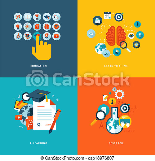 Flat icons for online education - csp18976807