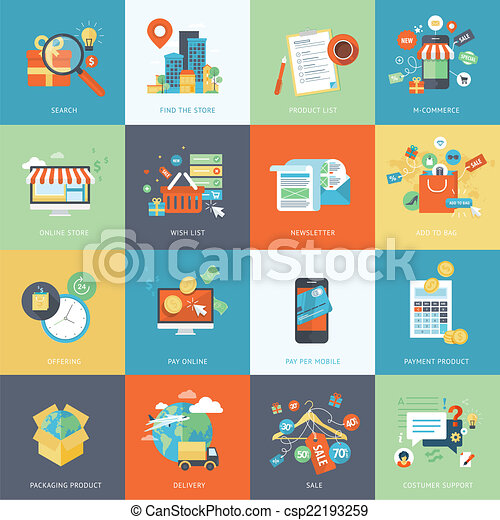 Flat icons for online shopping - csp22193259