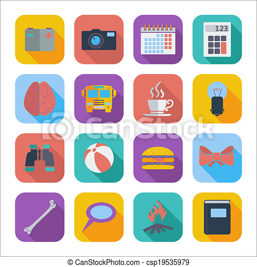 Flat icons for Web Design - csp19535979