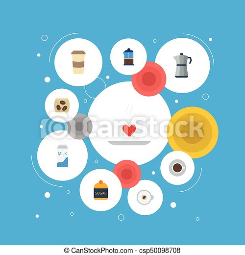 Flat Icons French Press, Sweetener, Cup And Other Vector Elements. Set Of Beverage Flat Icons Symbols Also Includes Saucer, Sugar, Pocket Objects. - csp50098708