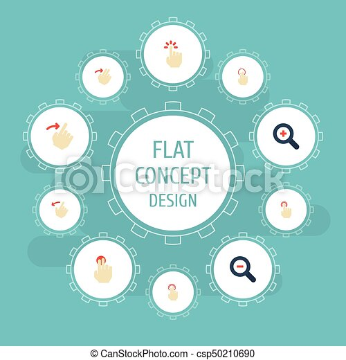 Flat Icons Magnifier, Double Click, Rearward And Other Vector Elements  Set  Of Gestures Flat Icons Symbols Also Includes Sensory, Double, Right