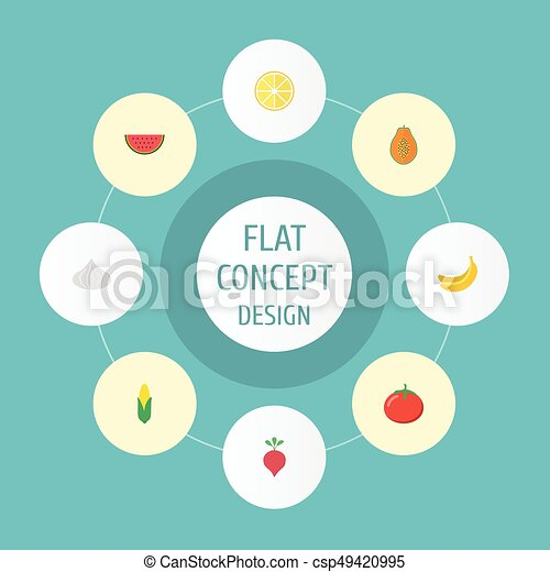 Flat Icons Maize Lime Jungle Fruit And Other Vector Elements Set
