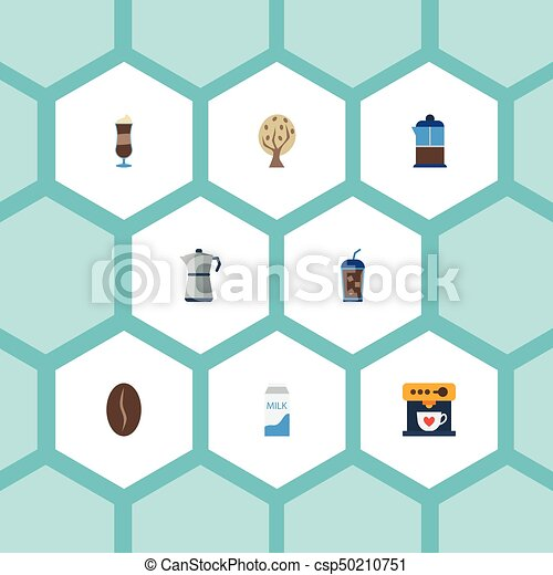 Flat Icons Mocha, Beverage, Moka Pot And Other Vector Elements. Set Of Beverage Flat Icons Symbols Also Includes Milk, Press, Bean Objects. - csp50210751