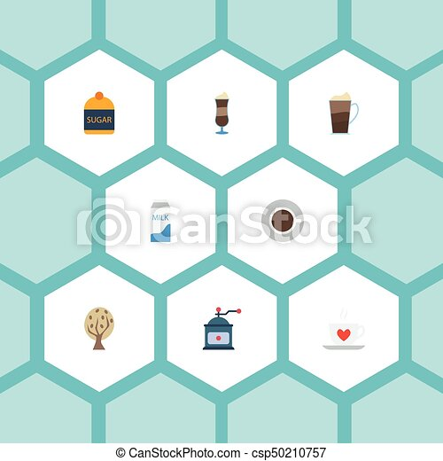 Flat Icons Mocha, Paper Box, Coffee Mill And Other Vector Elements. Set Of Beverage Flat Icons Symbols Also Includes Mill, Dairy, Grinder Objects. - csp50210757