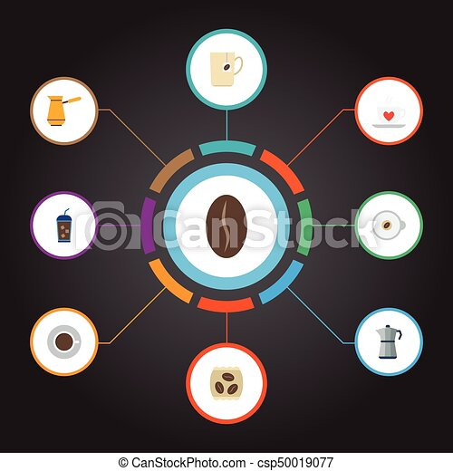 Flat Icons Moka Pot, Cappuccino, Saucer And Other Vector Elements. Set Of Beverage Flat Icons Symbols Also Includes Percolator, Maker, Package Objects. - csp50019077