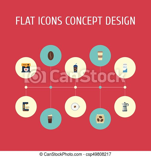Flat Icons Moka Pot, Latte, Package Latte And Other Vector Elements. Set Of Beverage Flat Icons Symbols Also Includes Latte, Iced, Pocket Objects. - csp49808217