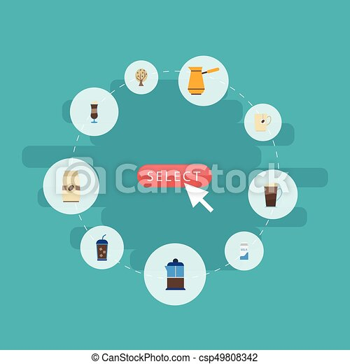 Flat Icons Paper Box, Beverage, Latte And Other Vector Elements. Set Of Beverage Flat Icons Symbols Also Includes Latte, Milk, Ibrik Objects. - csp49808342