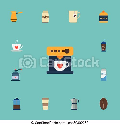 Flat Icons Plastic Cup, Sweetener, Coffeemaker And Other Vector Elements. Set Of Beverage Flat Icons Symbols Also Includes Turkish, Pocket, Pot Objects. - csp50802283