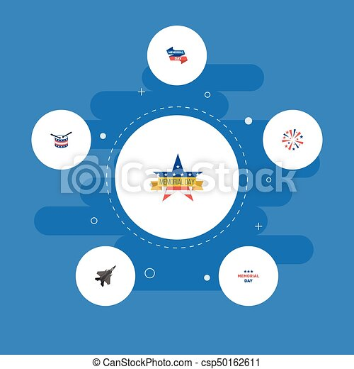 Flat Icons Ribbon, Musical Instrument, Aircraft And Other Vector Elements. Set Of Day Flat Icons Symbols Also Includes Sparklers, Banner, Firework Objects. - csp50162611