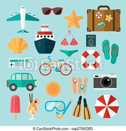 Flat Icons Set Of Recreation And Travel Signs And Symbols Of Travel