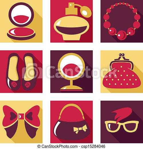 Flat Icons Set Of Woman Fashion Symbols