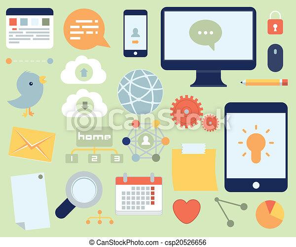 Flat Icons Social Media And Network Set - csp20526656