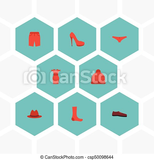Flat Icons Swimming Trunk, Hosiery, Man Footwear And Other Vector Elements. Set Of Dress Flat Icons Symbols Also Includes Beanie, Hosiery, Panama Objects. - csp50098644