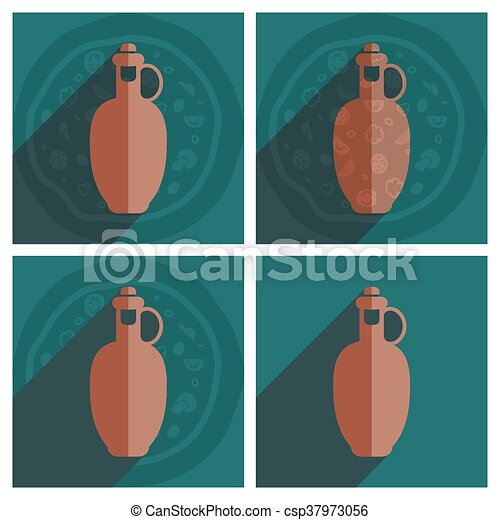 Flat icons with shadow of bottle olive oil - csp37973056