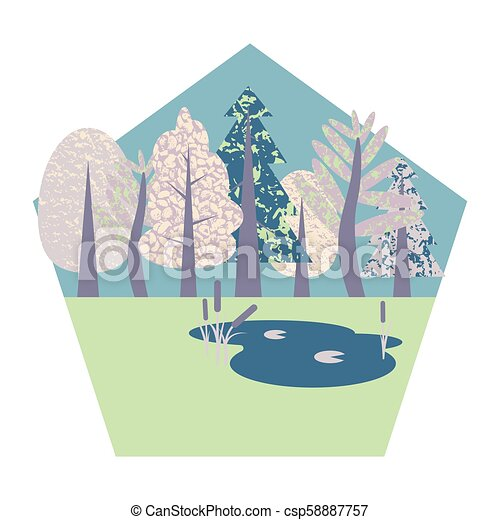 Flat illustration in the form of a pentagon with the wood and a pond. - csp58887757