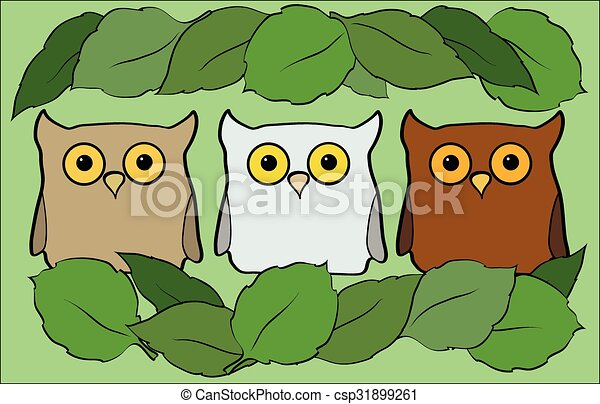 flat illustration with cartoon beautiful and funny owls - csp31899261