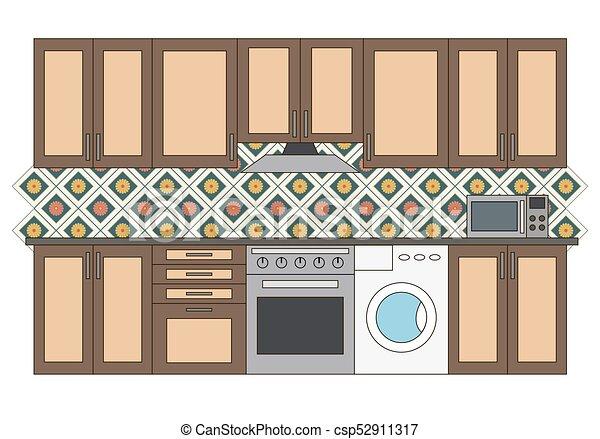 Flat Isolated Kitchen Room Graphic Kitchen Interior Vector