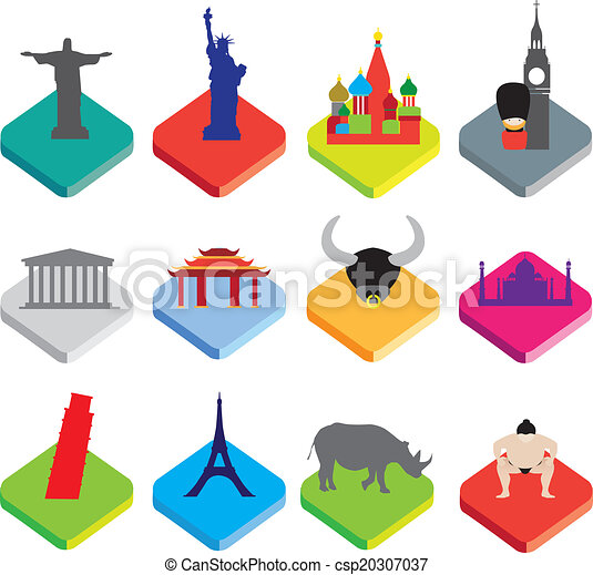 flat isometric 3d  icons of famous world landmarks on white - csp20307037