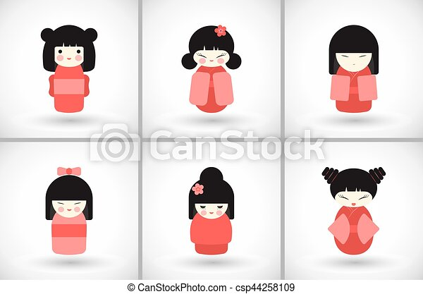 Flat kokeshi dolls set - csp44258109