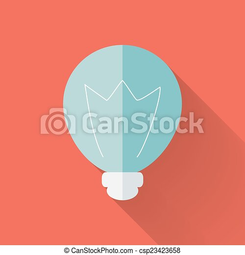 Flat lamp icon over red - csp23423658