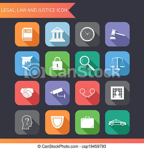 Flat Law Legal Justice Icons and Symbols Vector Illustration - csp19459793